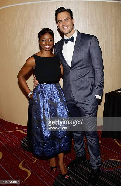 Actress singer Montego Glover and actor Cheyenne Jackson attends the Trevor Project's 2014 'TrevorLIVE NY' Event at the Marriott Marquis Hotel on...
