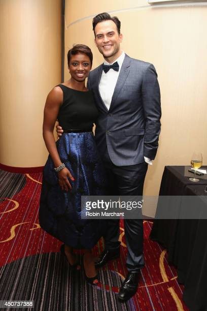 Actress singer Montego Glover and actor singer Cheyenne Jackson attends the Trevor Project's 2014 'TrevorLIVE NY' Event at the Marriott Marquis Hotel...