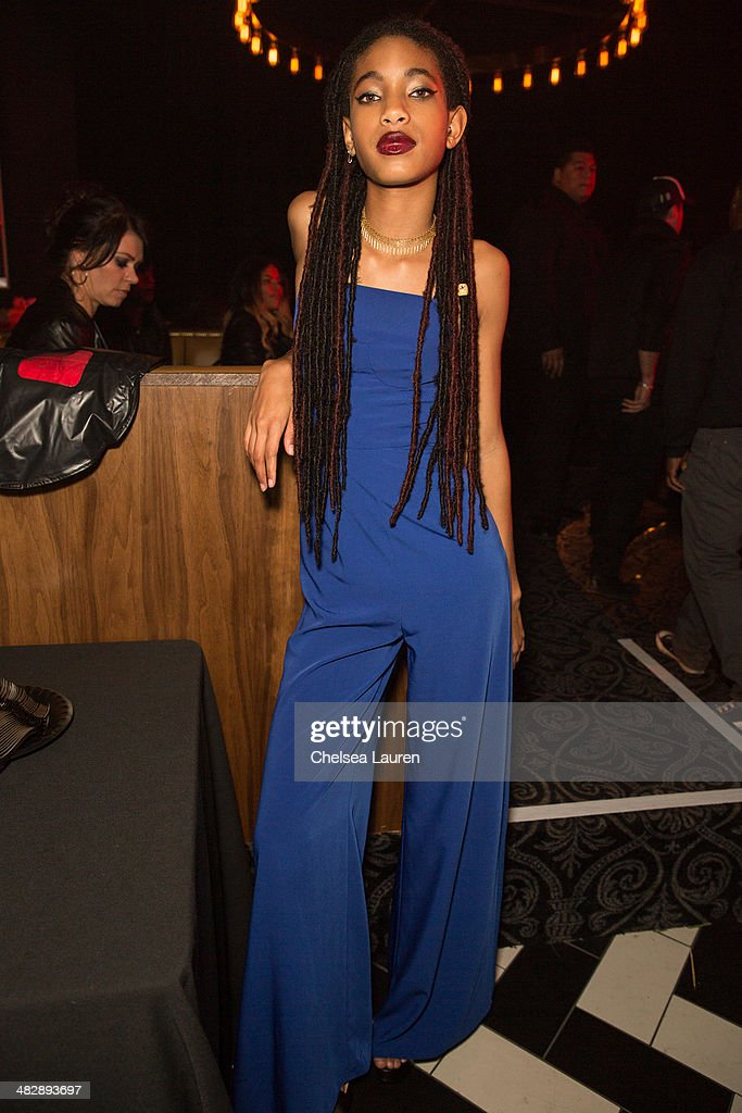 Actress / singer <a gi-track='captionPersonalityLinkClicked' href=/galleries/search?phrase=Willow+Smith&family=editorial&specificpeople=869488 ng-click='$event.stopPropagation()'>Willow Smith</a> attends Christian Casey Combs' 16th birthday party at 1OAK on April 4, 2014 in West Hollywood, California.