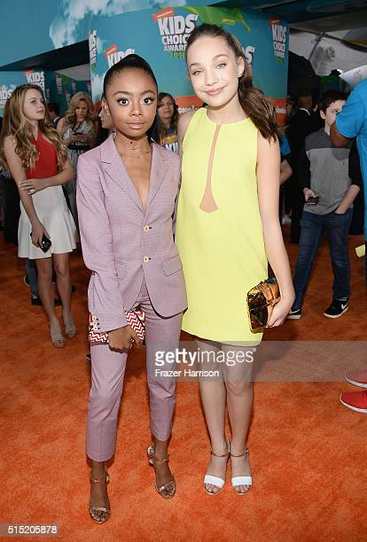 Actress Skai Jackson and dancer Maddie Ziegler attend Nickelodeon's 2016 Kids' Choice Awards at The Forum on March 12 2016 in Inglewood California