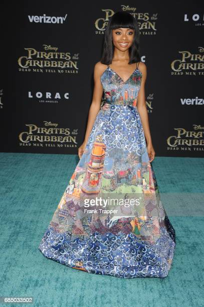 Actress Skai Jackson arrives at the premiere of Disney's 'Pirates of the Caribbean Dead Men Tell No Tales' at the Dolby Theatre on May 18 2017 in...