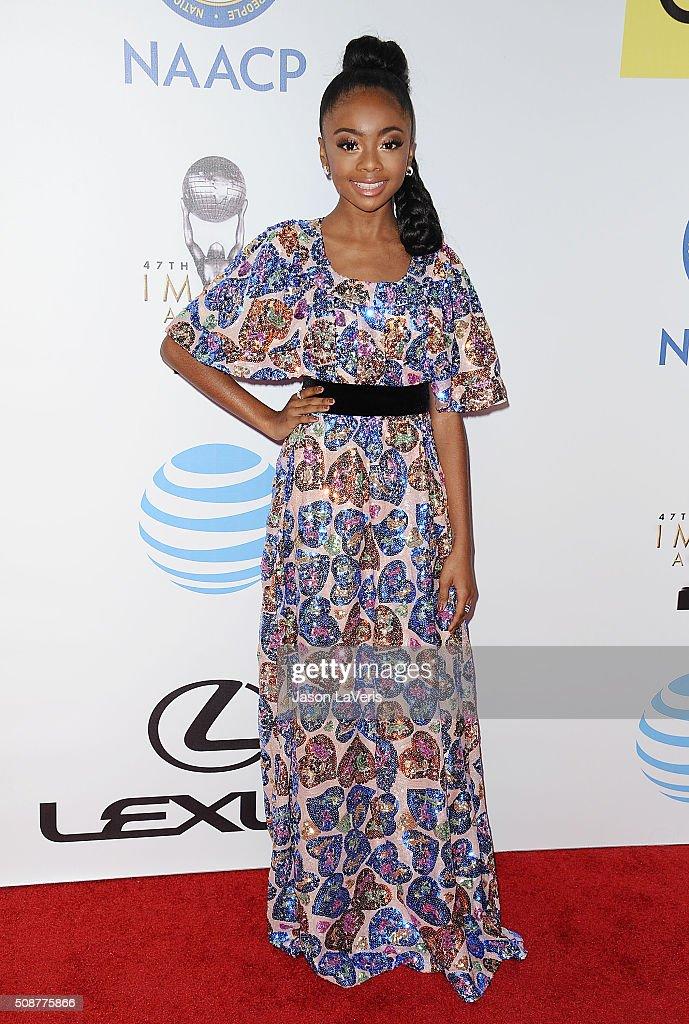 Actress Skai Jackson attends the 47th NAACP Image Awards at Pasadena Civic Auditorium on February 5, 2016 in Pasadena, California.