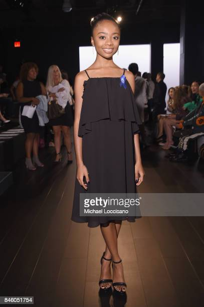 Actress Skai Jackson attends the Badgley Mischka fashion show during September 2017 New York Fashion Week The Shows at Gallery 1 Skylight Clarkson Sq...