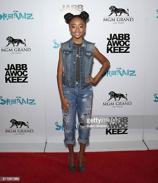 Actress Skai Jackson attends the grand opening of the Jabbawockeez dance crew's show 'JREAMZ' at MGM Grand Hotel Casino on February 19 2016 in Las...