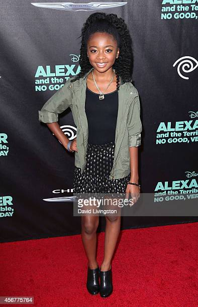 Actress Skai Jackson attends the premiere of Disney's 'Alexander and The Terrible Horrible No Good Very Bad Day' at the El Capitan Theatre on October...