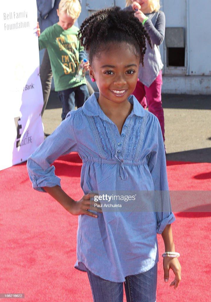 Actress Skye Jackson attends the 14th anniversary of P.S. Arts Express Yourself gala at Barker Hangar on November 11, 2012 in Santa Monica, California.