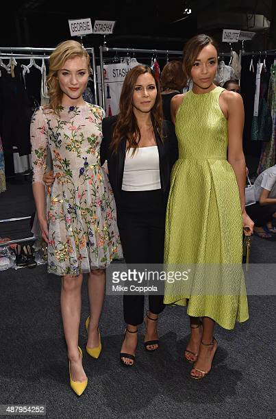 Actress Skyler Samuels designer Monique Lhuillier and actress Ashley Madekwe pose backstage at Monique Lhuillier Spring 2016 during New York Fashion...
