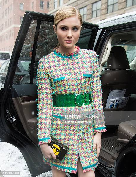 Actress Skyler Samuels is seen outside the Jeremy Scott Fall 2016 fashion show during New York Fashion Week The Shows at The Arc Skylight at Moynihan...