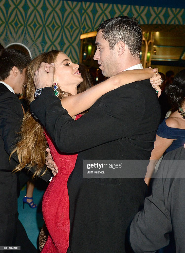 Actress Sofía Vergara (L) and <a gi-track='captionPersonalityLinkClicked' href=/galleries/search?phrase=Nick+Loeb&family=editorial&specificpeople=7091574 ng-click='$event.stopPropagation()'>Nick Loeb</a> attend HBO's official Emmy after party at The Plaza at the Pacific Design Center on September 22, 2013 in Los Angeles, California.