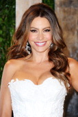 Actress Sofía Vergara arrives at the 2012 Vanity Fair Oscar Party hosted by Graydon Carter at Sunset Tower on February 26 2012 in West Hollywood...