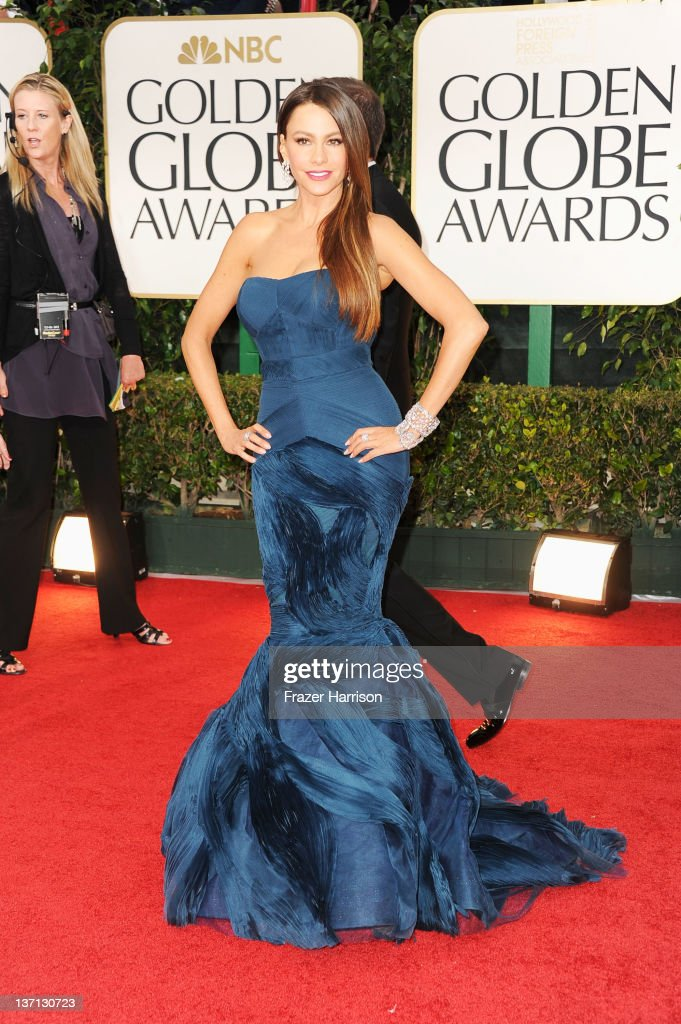 Actress Sofía Vergara arrives at the 69th Annual Golden Globe Awards held at the Beverly Hilton Hotel on January 15 2012 in Beverly Hills California