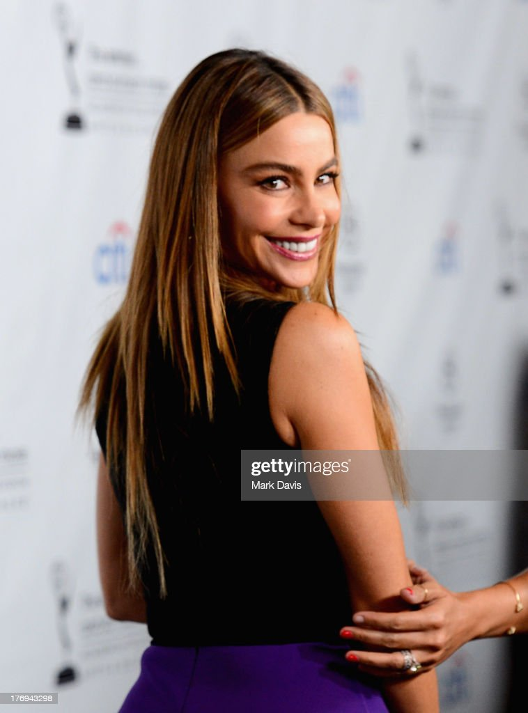 Actress Sofía Vergara arrives at the Academy of Television Arts & Sciences' Performers Peer Group cocktail reception to celebrate the 65th Primetime Emmy Awards at Sheraton Universal on August 19, 2013 in Universal City, California.