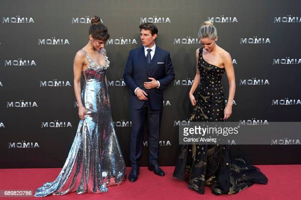 Actress Sofia Boutella actor Tom Cruise and actress Annabelle Wallis attend 'The Mummy' premiere at the Callao cinema on May 29 2017 in Madrid Spain