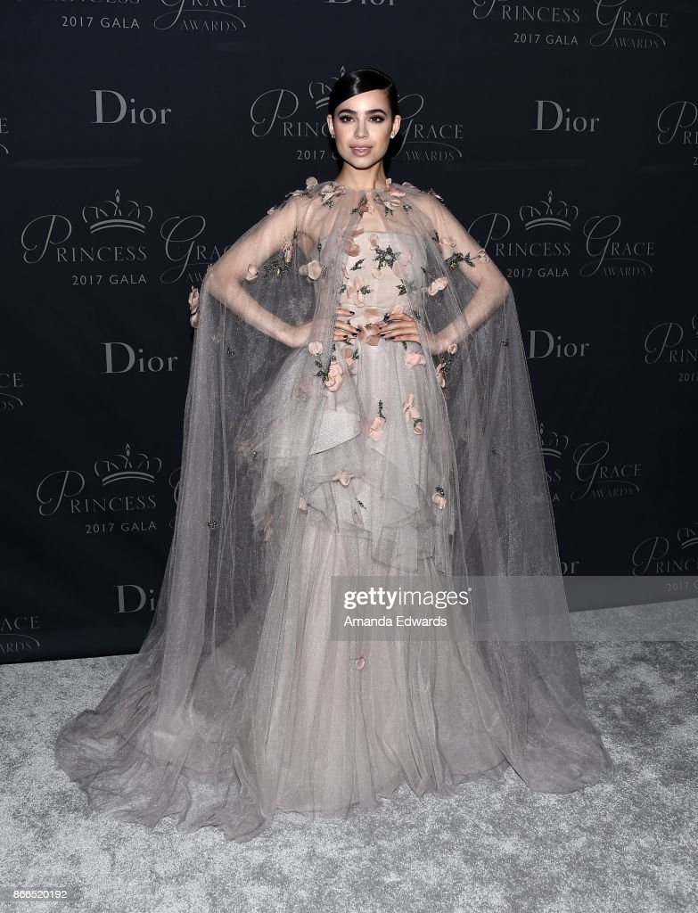 Actress Sofia Carson arrives at the 2017 Princess Grace Awards Gala at The Beverly Hilton Hotel on October 25, 2017 in Beverly Hills, California.