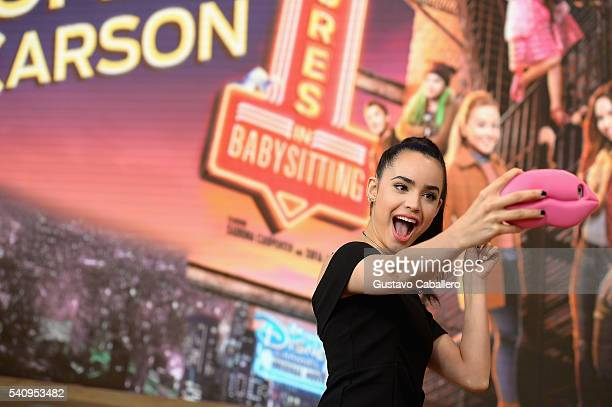 Actress Sofia Carson is seen on The Set Of Univision's 'Despierta America' at Univision Studios on June 17 2016 in Miami Florida
