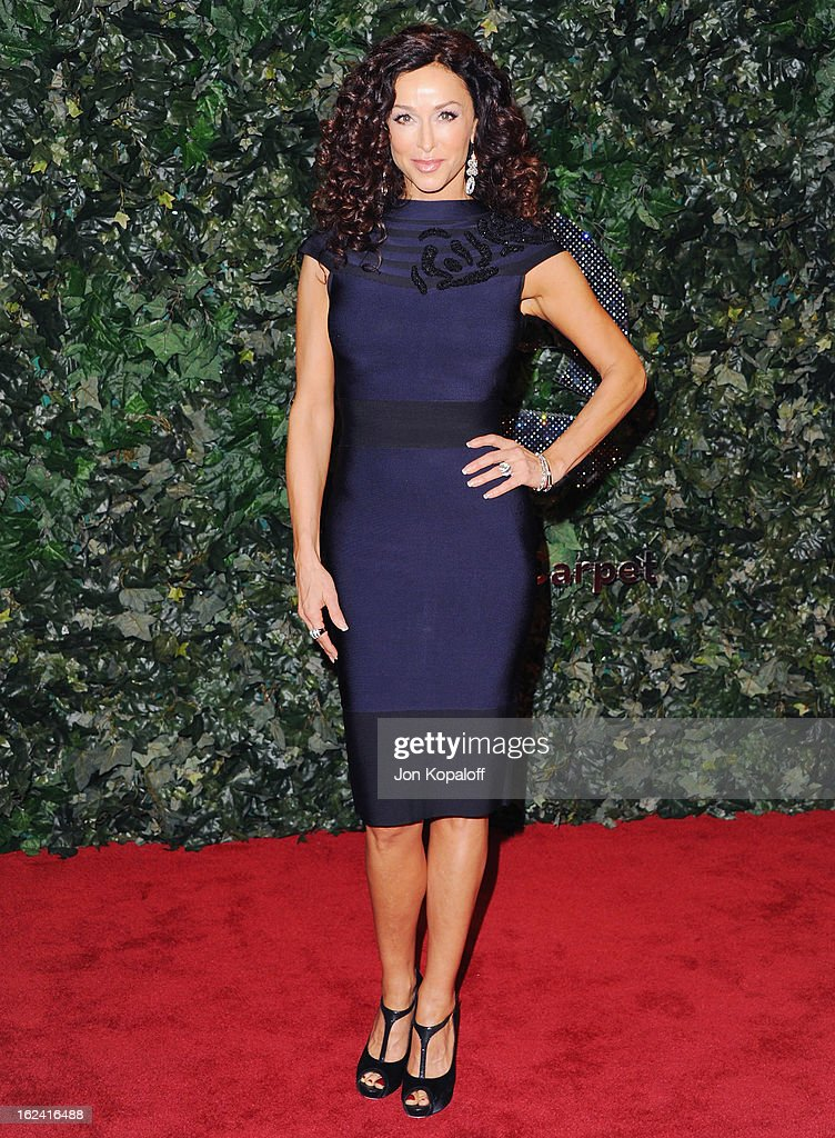 Actress Sofia Milos arrives at the QVC Red Carpet Style Party at Four Seasons Hotel Los Angeles at Beverly Hills on February 22, 2013 in Beverly Hills, California.
