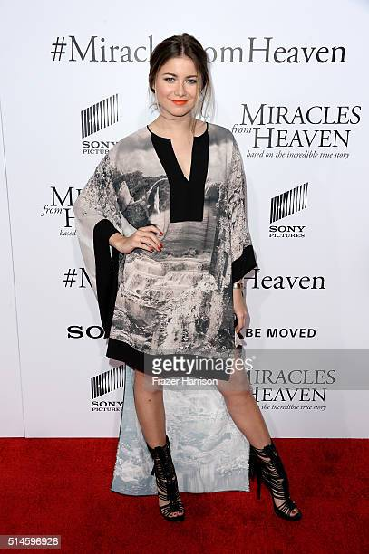 Actress Sofia Reyes arrives at the Premiere of Columbia Pictures' 'Miracles From Heaven' at ArcLight Hollywood on March 9 2016 in Hollywood California