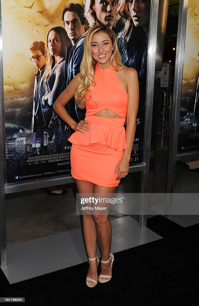 Actress Sofia Sisniega arrives at the Los Angeles premiere of 'The Mortal Instruments: City Of Bones' at ArcLight Cinemas Cinerama Dome on August 12, 2013 in Hollywood, California.