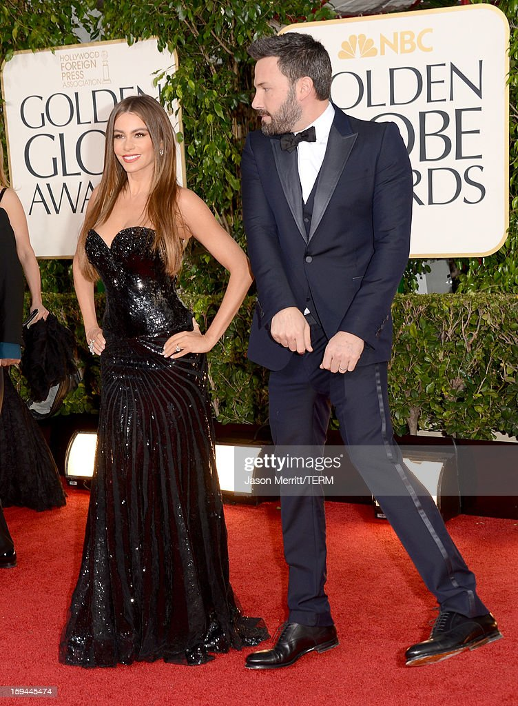 Actress Sofia Vergara (L) and actor-director Ben Affleck arrive at the 70th Annual Golden Globe Awards held at The Beverly Hilton Hotel on January 13, 2013 in Beverly Hills, California.