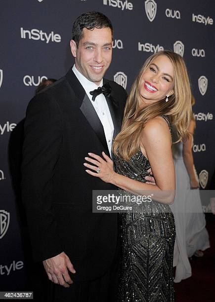 Actress Sofia Vergara and Nick Loeb arrive at the 2014 InStyle And Warner Bros 71st Annual Golden Globe Awards postparty at The Beverly Hilton Hotel...