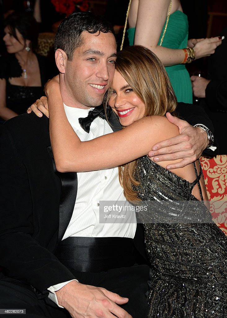 Actress Sofia Vergara (R) and Nick Loeb attend HBO's Official Golden Globe Awards After Party at The Beverly Hilton Hotel on January 12, 2014 in Beverly Hills, California.