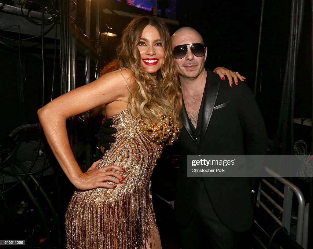 Actress <a gi-track='captionPersonalityLinkClicked' href=/galleries/search?phrase=Sofia+Vergara&family=editorial&specificpeople=214702 ng-click='$event.stopPropagation()'>Sofia Vergara</a> and rapper <a gi-track='captionPersonalityLinkClicked' href=/galleries/search?phrase=Pitbull+-+Rapper&family=editorial&specificpeople=206389 ng-click='$event.stopPropagation()'>Pitbull</a> attend The 58th GRAMMY Awards at Staples Center on February 15, 2016 in Los Angeles, California.