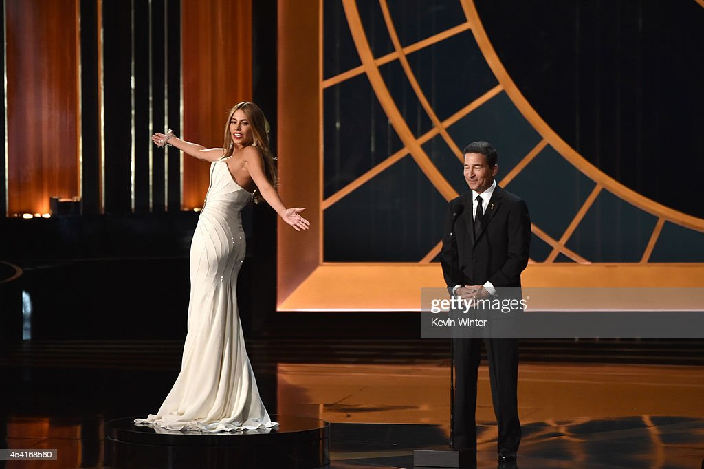 Actress Sofia Vergara and Television Academy CEO Bruce Rosenblum speak onstage at the 66th Annual Primetime Emmy Awards held at Nokia Theatre LA Live...