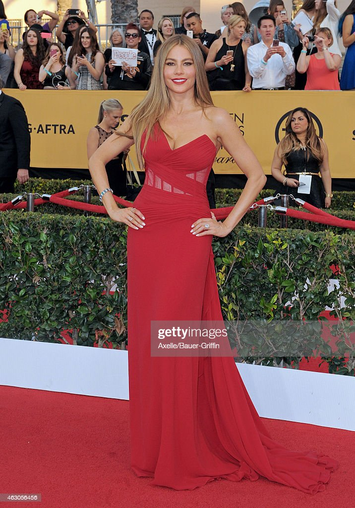 Actress Sofia Vergara arrives at the 21st Annual Screen Actors Guild Awards at The Shrine Auditorium on January 25, 2015 in Los Angeles, California.