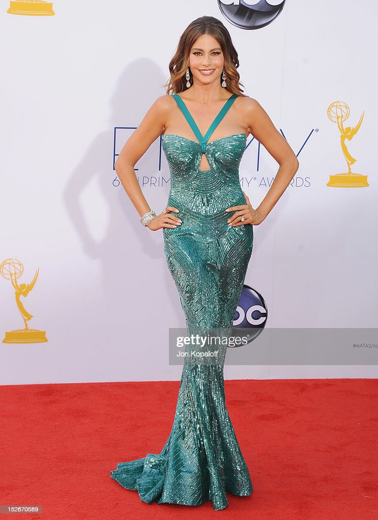 Actress <a gi-track='captionPersonalityLinkClicked' href=/galleries/search?phrase=Sofia+Vergara&family=editorial&specificpeople=214702 ng-click='$event.stopPropagation()'>Sofia Vergara</a> arrives at the 64th Primetime Emmy Awards at Nokia Theatre L.A. Live on September 23, 2012 in Los Angeles, California.