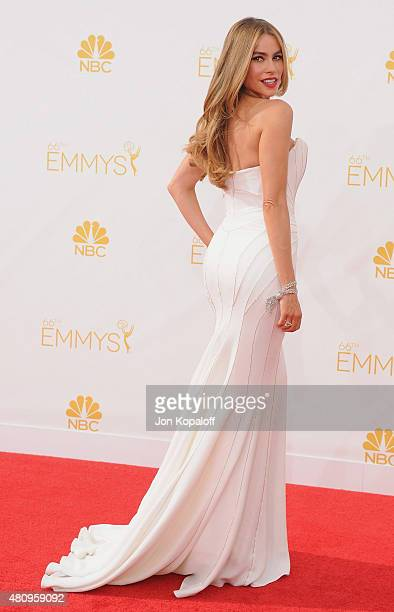 Actress Sofia Vergara arrives at the 66th Annual Primetime Emmy Awards at Nokia Theatre LA Live on August 25 2014 in Los Angeles California