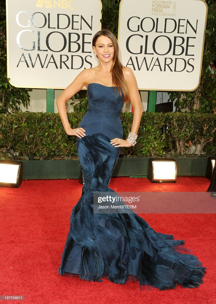 Actress Sofia Vergara arrives at the 69th Annual Golden Globe Awards held at the Beverly Hilton Hotel on January 15 2012 in Beverly Hills California