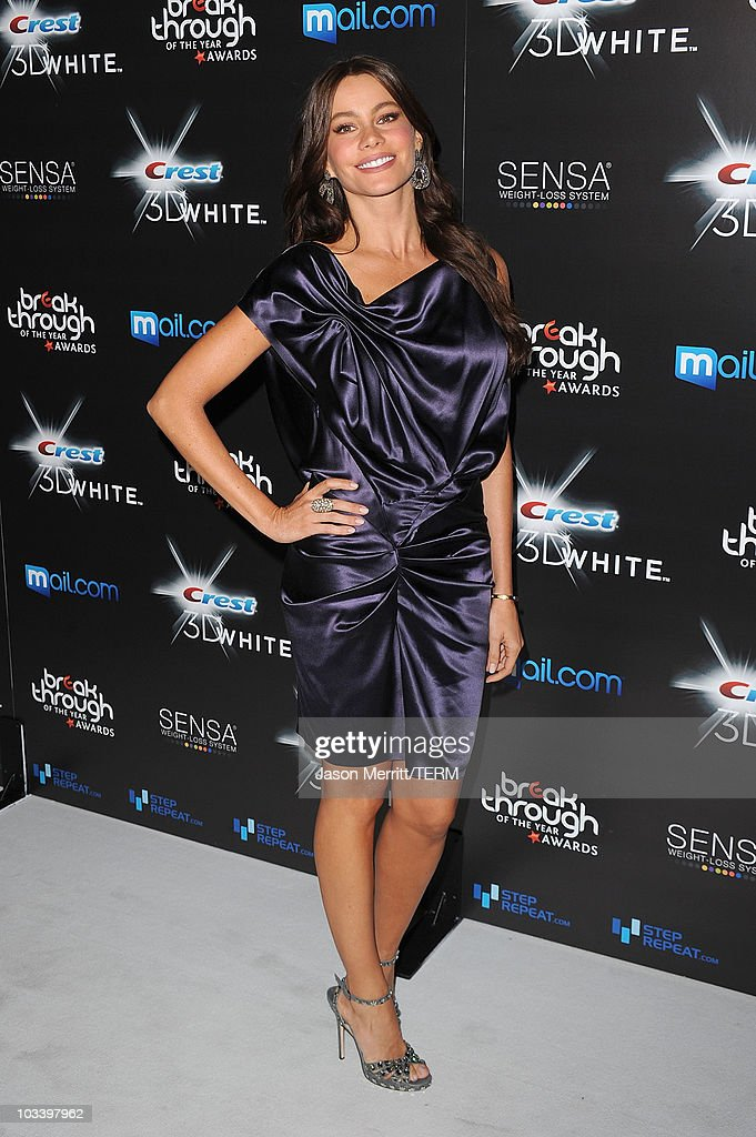 Actress Sofia Vergara arrives at the Breakthrough Of The Year Awards Presented By Crest 3D White at the Pacific Design Center on August 15, 2010 in West Hollywood, California.