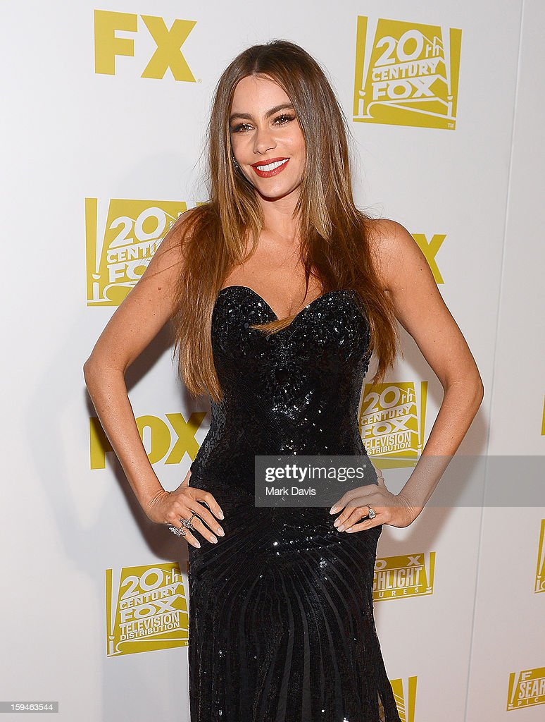 Actress <a gi-track='captionPersonalityLinkClicked' href=/galleries/search?phrase=Sofia+Vergara&family=editorial&specificpeople=214702 ng-click='$event.stopPropagation()'>Sofia Vergara</a> arrives at the FOX After Party for the 70th Annual Golden Globe Awards held at The FOX Pavillion at The Beverly Hilton Hotel on January 13, 2013 in Beverly Hills, California.