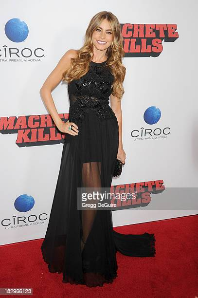 Actress Sofia Vergara arrives at the Los Angeles premiere of 'Machete Kills' at Regal Cinemas LA Live on October 2 2013 in Los Angeles California