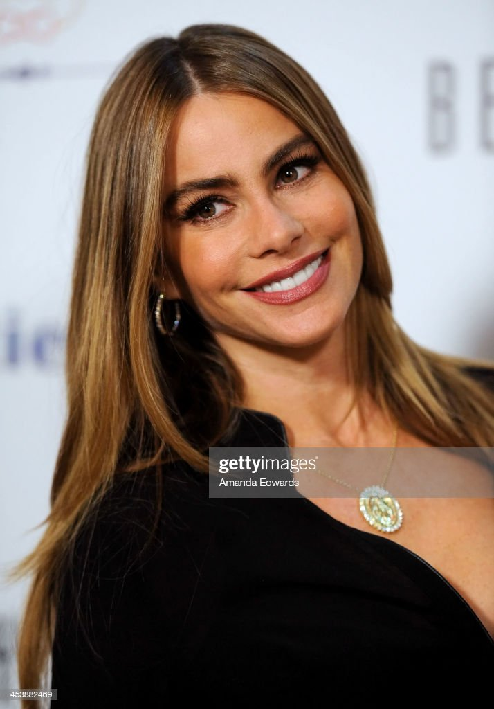 Actress <a gi-track='captionPersonalityLinkClicked' href=/galleries/search?phrase=Sofia+Vergara&family=editorial&specificpeople=214702 ng-click='$event.stopPropagation()'>Sofia Vergara</a> arrives at the 'Tie The Knot' grand store opening at The Beverly Center on December 5, 2013 in Los Angeles, California.