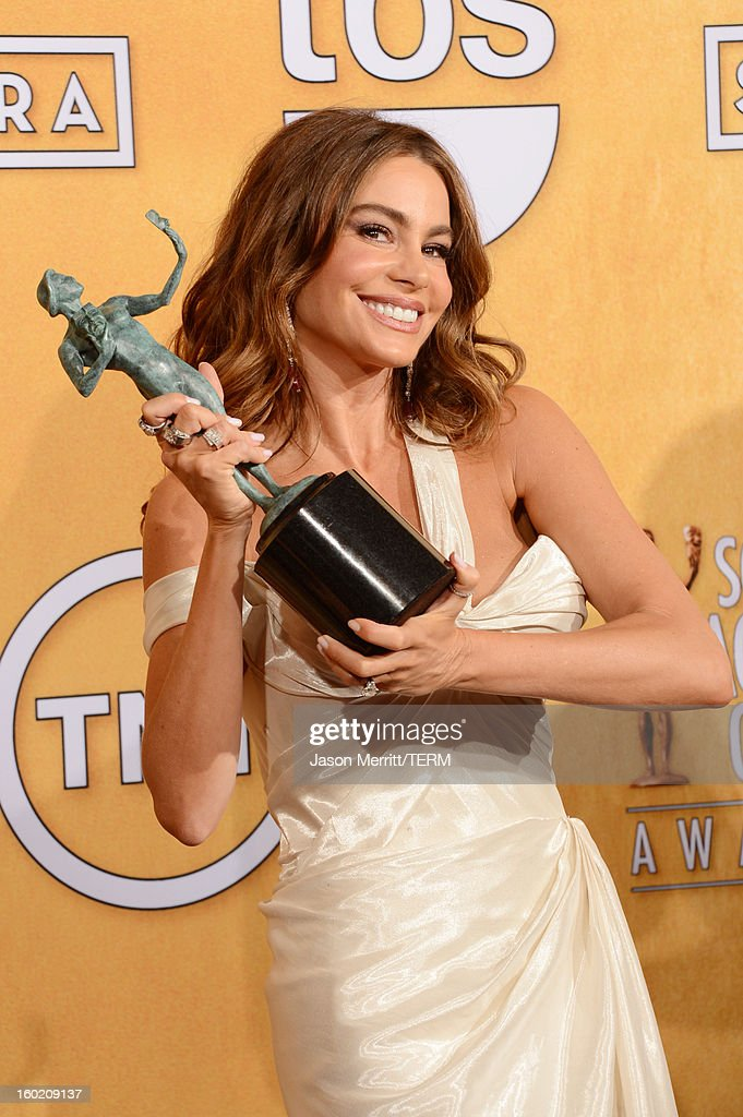 Actress <a gi-track='captionPersonalityLinkClicked' href=/galleries/search?phrase=Sofia+Vergara&family=editorial&specificpeople=214702 ng-click='$event.stopPropagation()'>Sofia Vergara</a> attends the 19th Annual Screen Actors Guild Awards at The Shrine Auditorium on January 27, 2013 in Los Angeles, California. (Photo by Jason Merritt/WireImage) 23116_014_3135.JPG