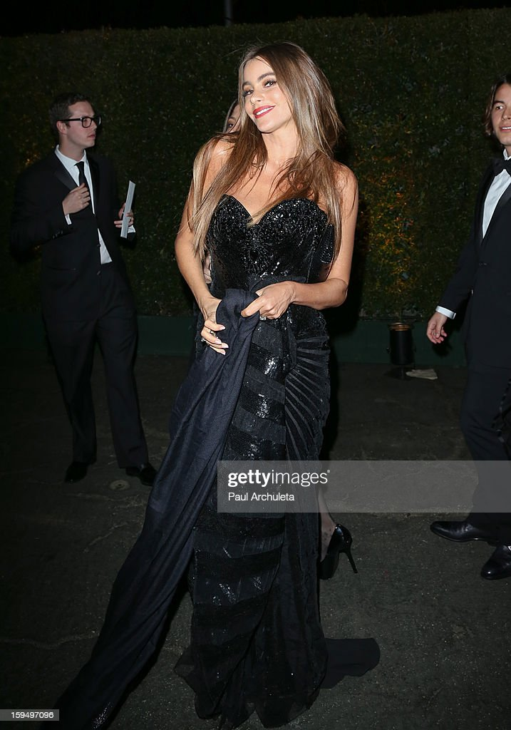 Actress <a gi-track='captionPersonalityLinkClicked' href=/galleries/search?phrase=Sofia+Vergara&family=editorial&specificpeople=214702 ng-click='$event.stopPropagation()'>Sofia Vergara</a> attends the FOX after party for the 70th Golden Globes award show at The Beverly Hilton Hotel on January 13, 2013 in Beverly Hills, California.