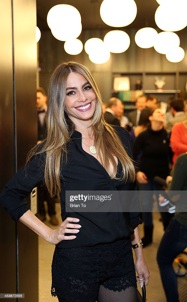 Actress <a gi-track='captionPersonalityLinkClicked' href=/galleries/search?phrase=Sofia+Vergara&family=editorial&specificpeople=214702 ng-click='$event.stopPropagation()'>Sofia Vergara</a> attends Tie The Knot Pop-Up Store at The Beverly Center on December 5, 2013 in Los Angeles, California.