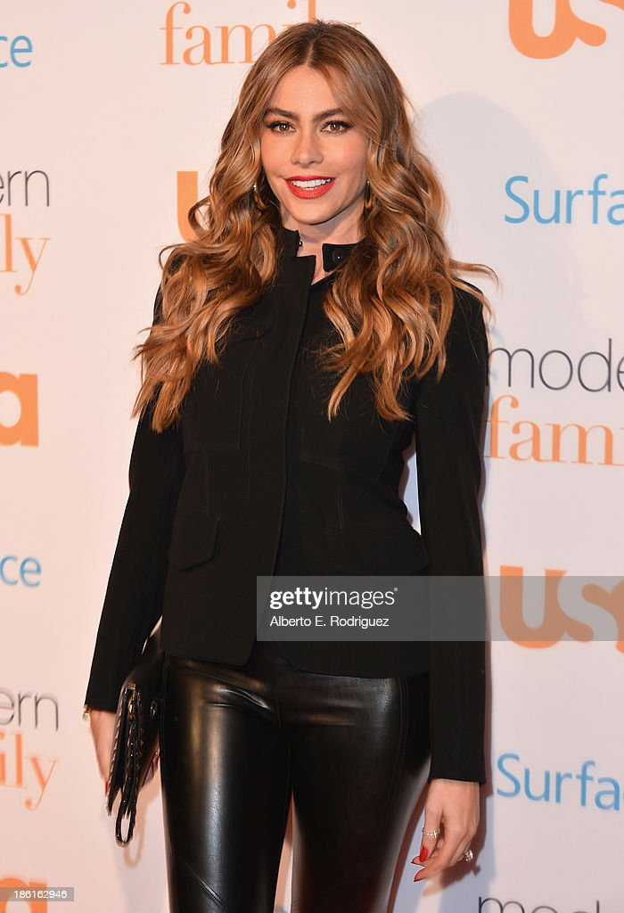 Actress Sofia Vergara attends USA Network's 'Modern Family' fan appreciation day at Westwood Village on October 28, 2013 in Los Angeles, California.
