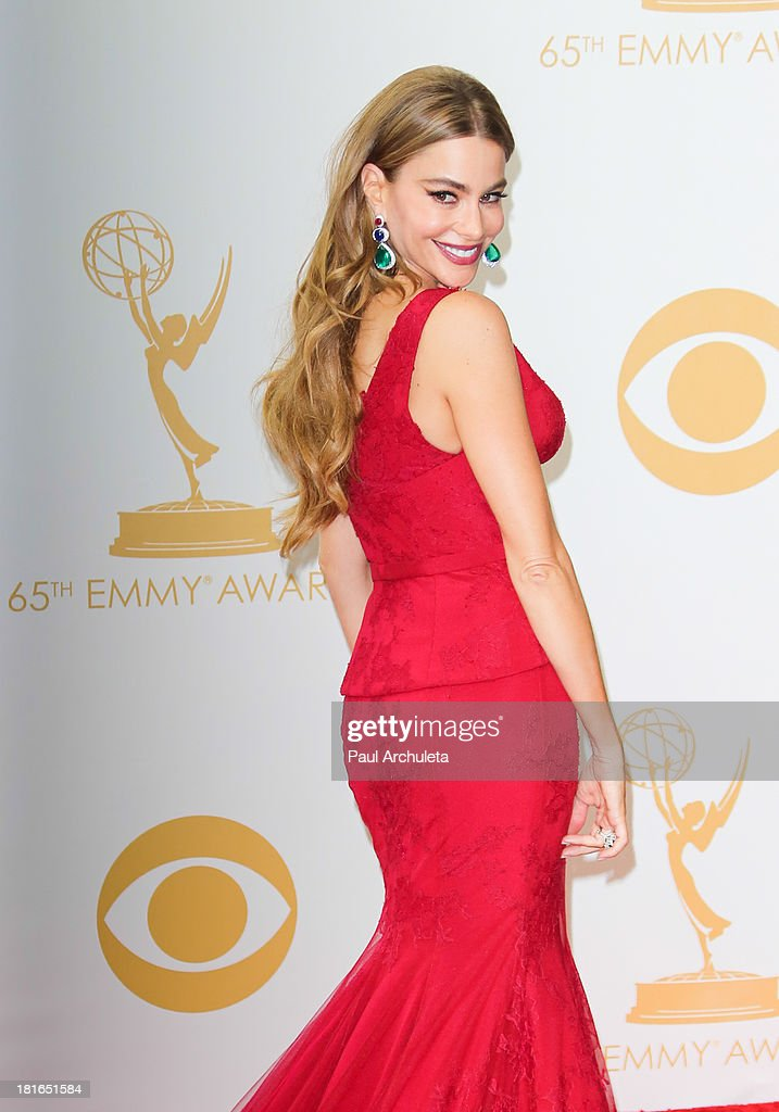Actress <a gi-track='captionPersonalityLinkClicked' href=/galleries/search?phrase=Sofia+Vergara&family=editorial&specificpeople=214702 ng-click='$event.stopPropagation()'>Sofia Vergara</a> poses in the press room at the 65th annual Primetime Emmy Awards at Nokia Theatre L.A. Live on September 22, 2013 in Los Angeles, California.