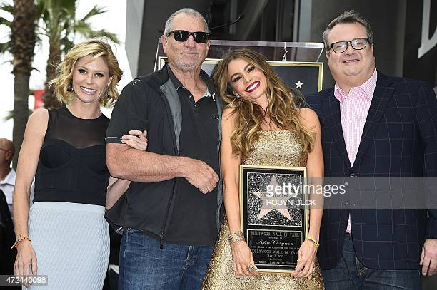 Actress Sofia Vergara poses with her 'Modern Family' costars as she is honored with the 2551st star on the Hollywood Walk of Fame May 7 in Hollywood...