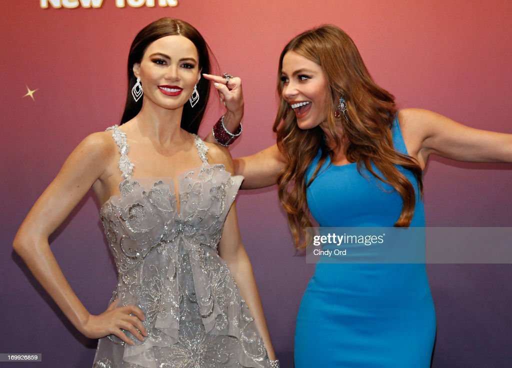 Actress <a gi-track='captionPersonalityLinkClicked' href=/galleries/search?phrase=Sofia+Vergara&family=editorial&specificpeople=214702 ng-click='$event.stopPropagation()'>Sofia Vergara</a> (R) unveils two Madame Tussauds wax figures in her likeness for display at Madame Tussauds locations in New York and Las Vegas on June 4, 2013 in New York City.