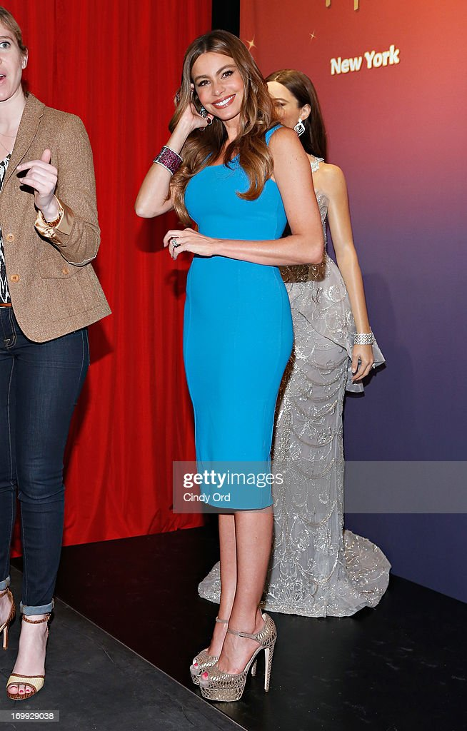 Actress Sofia Vergara visits Madame Tussauds New York to unveil two Madame Tussauds wax figures in her likeness for display at Madame Tussauds locations in New York and Las Vegas on June 4, 2013 in New York City.