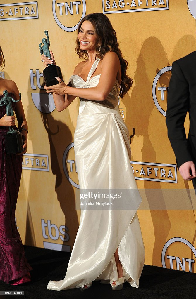 Actress Sofia Vergara winners of Outstanding Performance by an Ensemble in a Comedy Series for 'Modern Family,' poses in the press room during the 19th Annual Screen Actors Guild Awards held at The Shrine Auditorium on January 27, 2013 in Los Angeles, California.