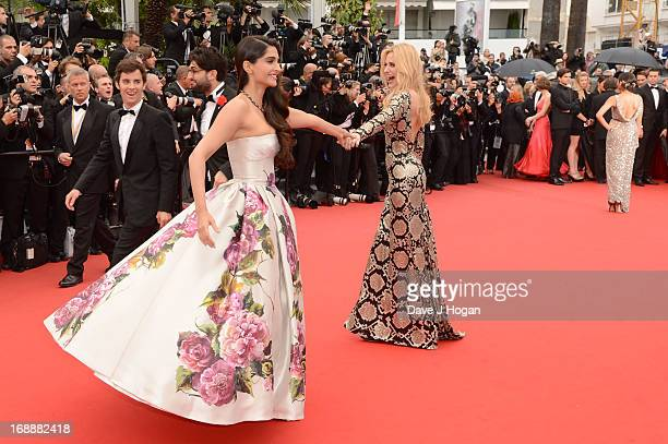 Actress Sonam Kapoor and Aimee Mullins attend the 'Jeune Jolie' premiere during The 66th Annual Cannes Film Festival at the Palais des Festivals on...