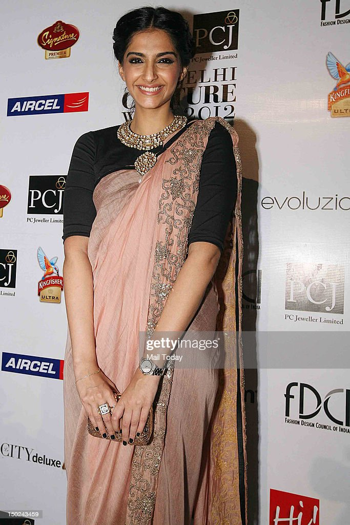 Actress Sonam Kapoor at the show of designer Gaurav Gupta on Day 2 of PCJ Delhi Couture Week 2012 at Evoluzione, The Kila, 7 Style Mile, Mehrauli on August 09, 2012.