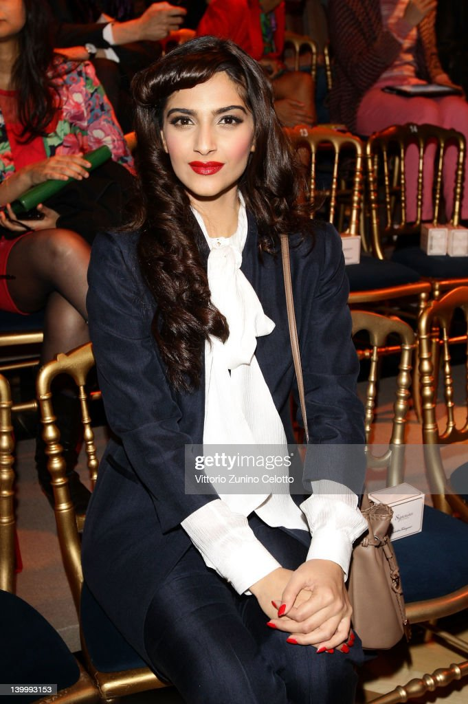 Actress <a gi-track='captionPersonalityLinkClicked' href=/galleries/search?phrase=Sonam+Kapoor&family=editorial&specificpeople=4504004 ng-click='$event.stopPropagation()'>Sonam Kapoor</a> attends the Salvatore Ferragamo fashion show as part of Milan Womenswear Fashion Week on February 26, 2012 in Milan, Italy.