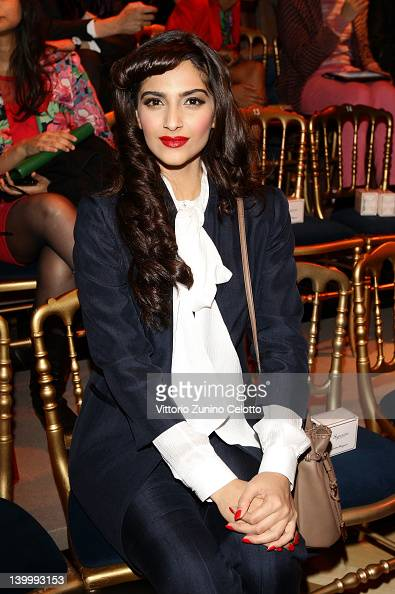 Actress Sonam Kapoor attends the Salvatore Ferragamo fashion show as part of Milan Womenswear Fashion Week on February 26 2012 in Milan Italy