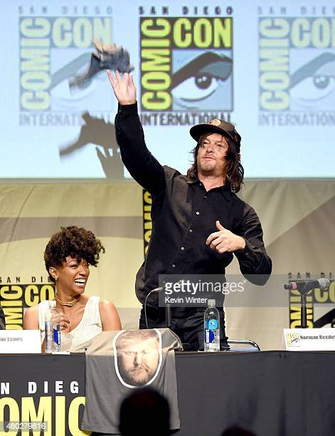 Actress Sonequa MartinGreen and actor Norman Reedus appear onstage at AMC's 'The Walking Dead' panel during ComicCon International 2015 at the San...