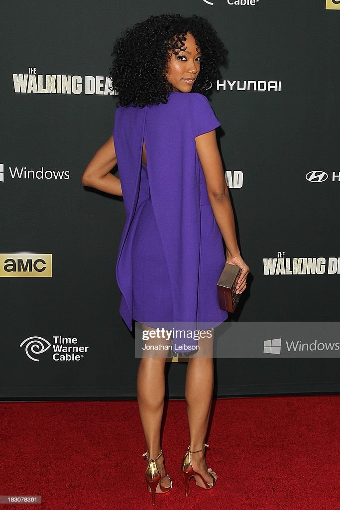 Actress Sonequa Martin-Green attends the AMC's 'The Walking Dead' - Season 4 Premiere Party at AMC Universal City Walk on October 3, 2013 in Universal City, California.